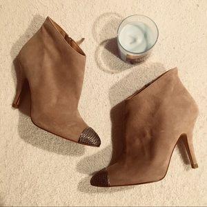 Beige Zara heeled ankle booties
